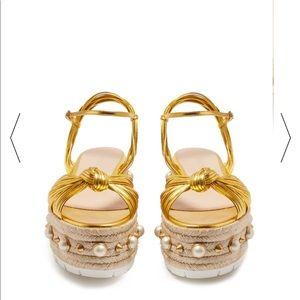 Authentic Gucci Pearl-embellished platform sandals